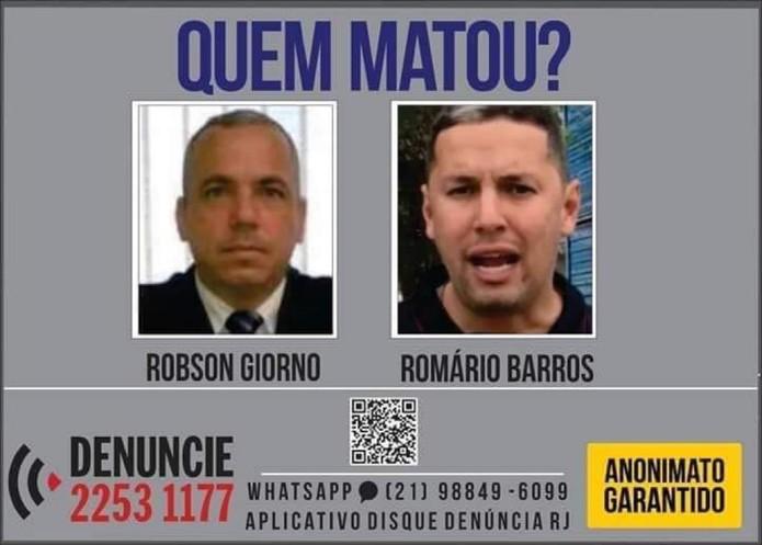 Disque Denúncia divulga cartaz para tentar identificar assassinos de jornalistas de Maricá, no RJ