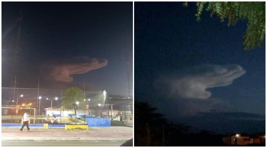 Nuvem em formato de mão é vista nos céus do Cariri da Paraíba e imagem viraliza na internet