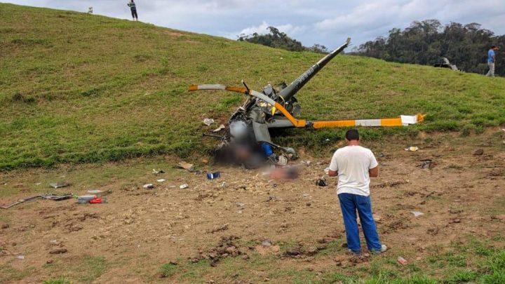 Helicóptero cai e deixa dois mortos em Rio Claro, no interior do RJ