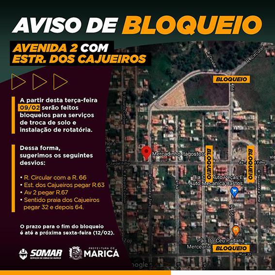 Obra interdita parcialmente Estrada dos Cajueiros em Maricá-RJ