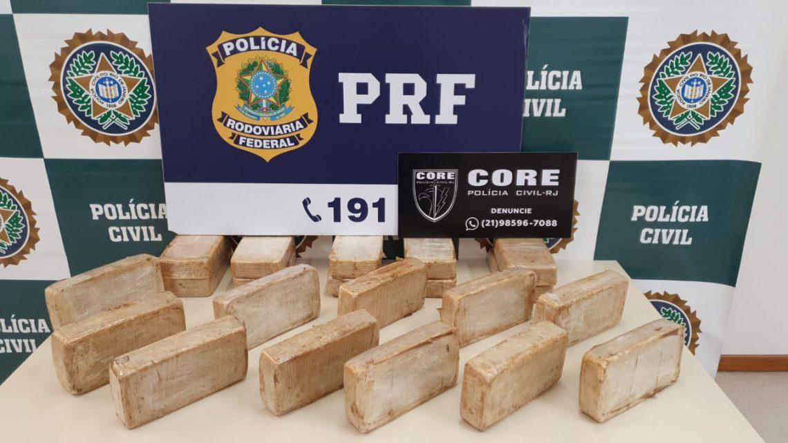 RJ: PRF e Polícia Civil apreendem mais de 20 quilos de pasta base de cocaína
