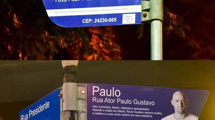 Niterói: Placas da antiga Rua Coronel Moreira César são substituídas pelo novo nome da Rua Ator Paulo Gustavo.